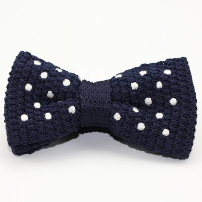 Kruwear Knitted Royal Blue Men's Bow Tie with White Polka Dots - Adjustable Pre-tied Men's Knitted Bow Tie Bowtie.