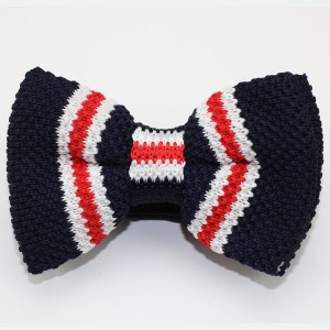 Knitted Blue White Red Striped Adjustable Bow Tie Bowtie