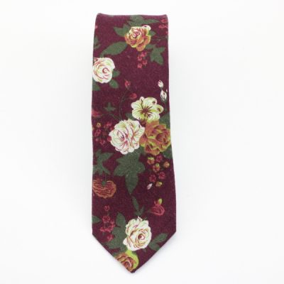 Kruwear skinny flower printed rose brown cotton neck tie