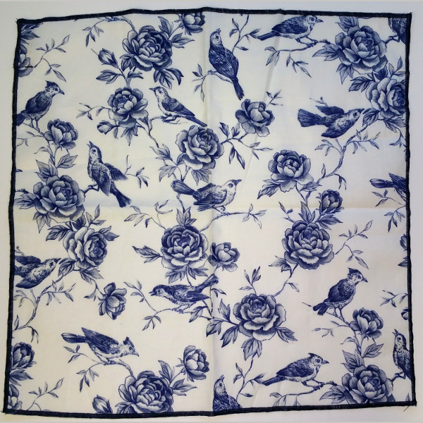 kruwear pocket square blue bird on the vine