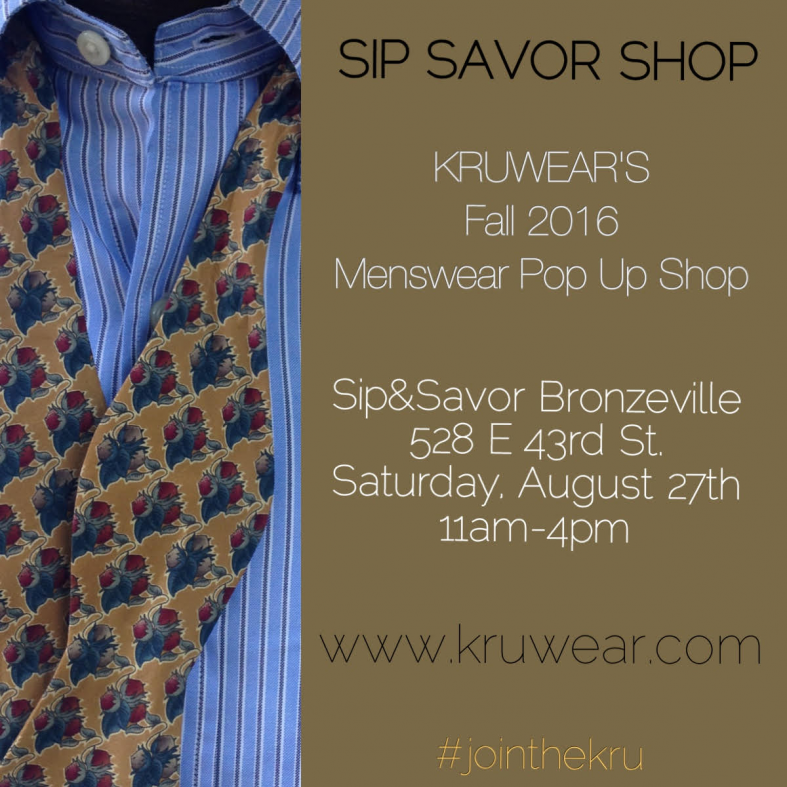 Kruwear to host pop-up at Sip and Savor - Bronzeville.
