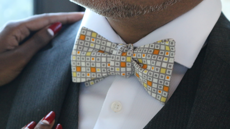 """Solomon Vincent,"" a self-tied bow tie by Kruwear."