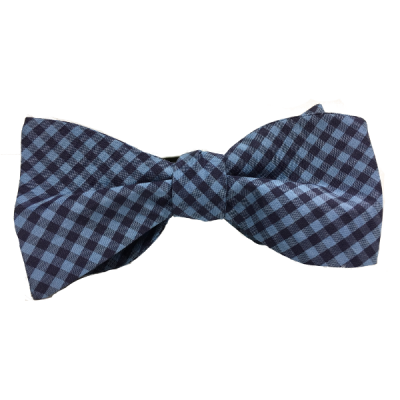 Assembly Language is a self-tied silk gingham bow tie by Kruwear