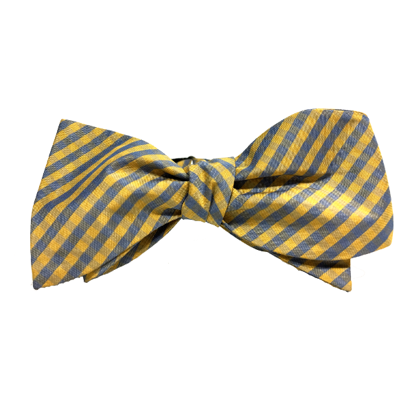 C++ is a mustard gold steel blue adjustable 100% silk gingham self-tied bow tie.