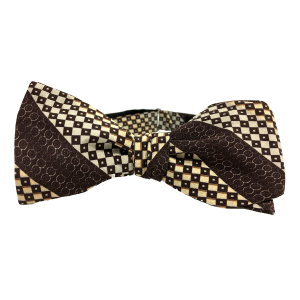 Pascal is a mocha brown stripe 100% silk adjustable self-tied bow tie from Kruwear's Programming Language Collection.