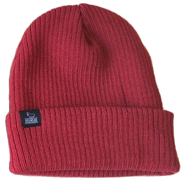 Kruwear logo label red beanies