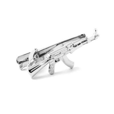 AK-47 assault gun silver tie bar tie clip