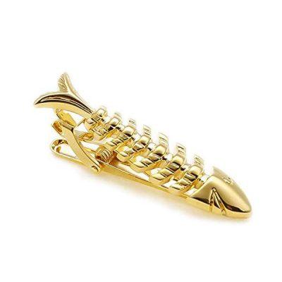 Fish Skeleton bone Gold Tie Clip