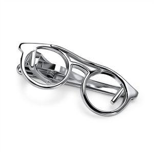 Glasses Silver Tie Bar Tie Clip