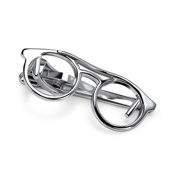 Glasses Silver Tie Bar Tie Clip