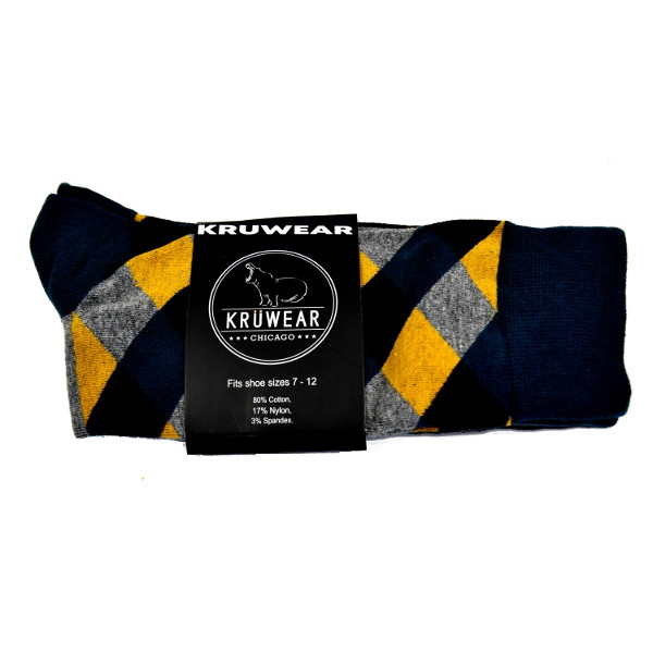 Greenish-blue, black, gold & grey argyle men's dress socks