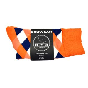 Pumpkin White Blue Argyle men socks
