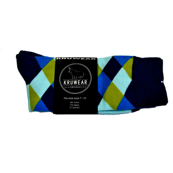 Tea, Mustard & Blue Men's Argyle Dress Socks