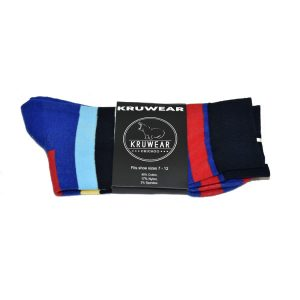 Blue Red Yellow Black and White dress sock