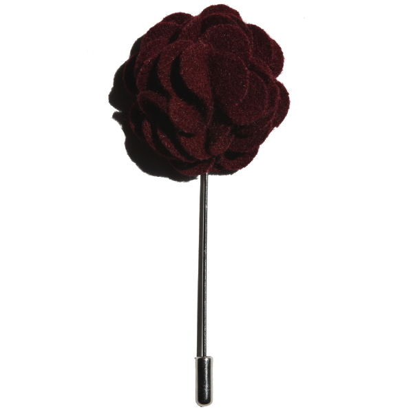 Burgundy lapel flower pin