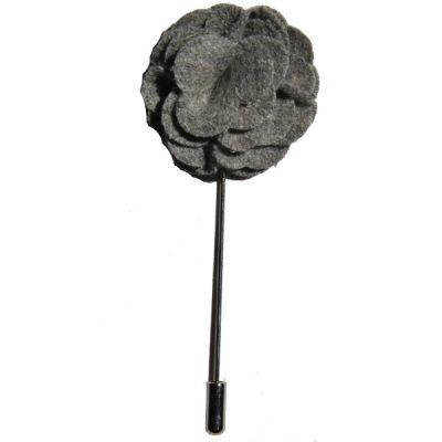 Grey Rose Lapel Flower Pin