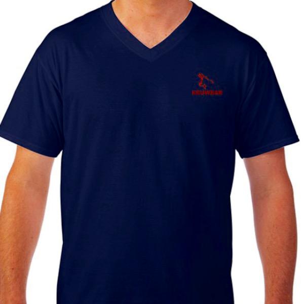 Kruwear logo embroidered v-neck t-shirts