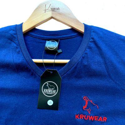 kruwear blue embroidered v-neck