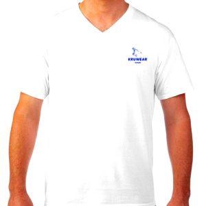 Kruwear logo embroidered white v-neck t-shirts