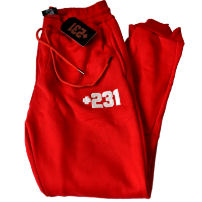 +231 embroidered red sweatpants