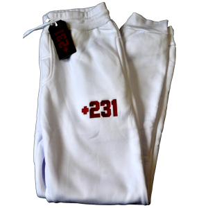 +231 embroidered white sweatpants