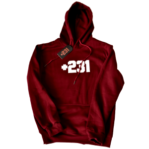 +231 embroidered maroon hoodie